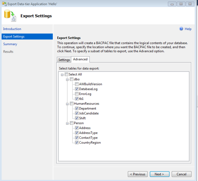 Export and Import the database objects using BACPAC file