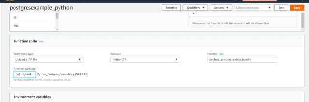 AWS Lambda to connect to PostgreSQL and execute a function