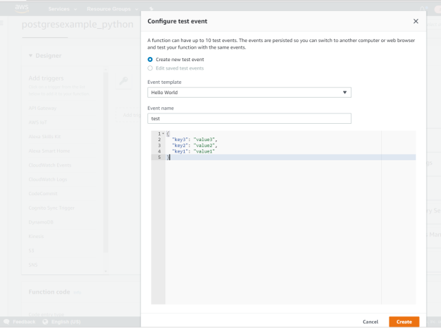 AWS Lambda to connect to PostgreSQL and execute a function/query